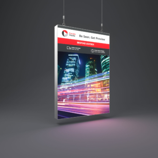 Suspended TFS lightbox a1 size with graphic