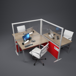 L shaped acoustic office screen