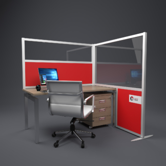 Up and over L shaped sound absorbing office screen