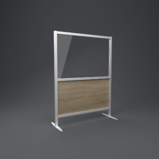 restaurant screen with grey oak bottom panel and glazed top panel