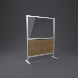 restaurabt screen with rustic oak lower panel and glazed top panel